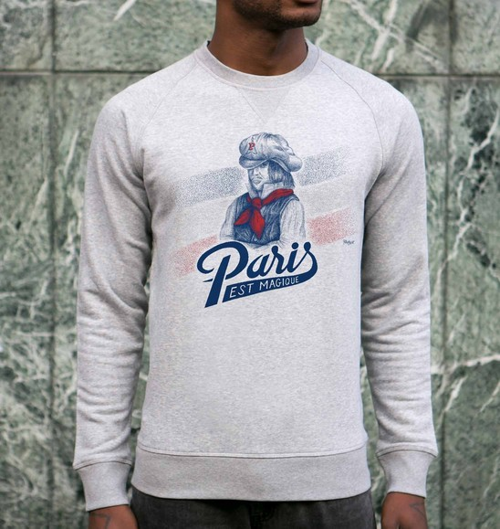 Sweat pour Homme Paris est Magique de couleur Gris chiné