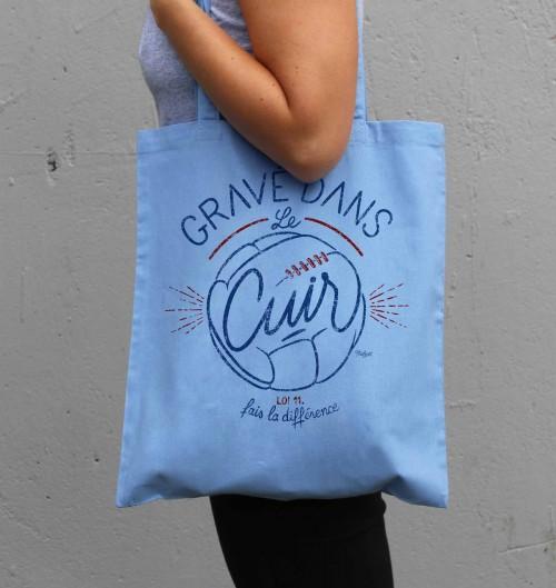 Tote Bag Gravé dans le Cuir de couleur Bleu clair