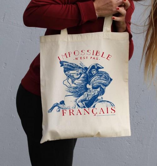 Tote Bag Impossible N'est Pas Français de couleur Crème