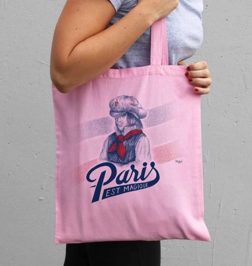Tote Bag Paris est Magique de couleur Rose