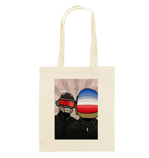Tote Bag Daft Punk de couleur Crème
