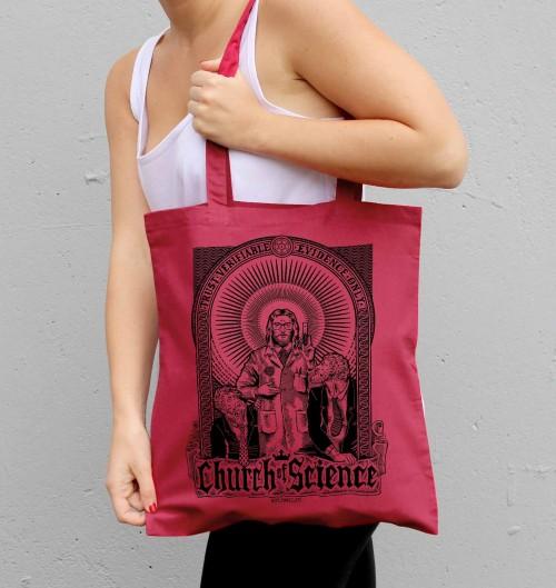 Tote Bag Church Of Science de couleur Cranberry