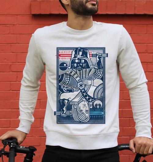 Sweatshirt pour Homme Dark Vador vs Anakin de couleur Gris chiné