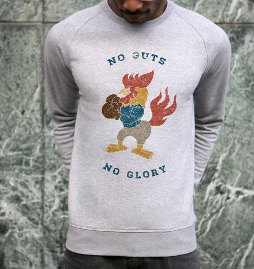 Sweat pour Homme No Guts de couleur Gris chiné