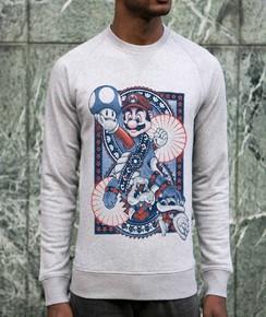 Sweatshirt à col rond Mario vs Bowser par Neon Mystic