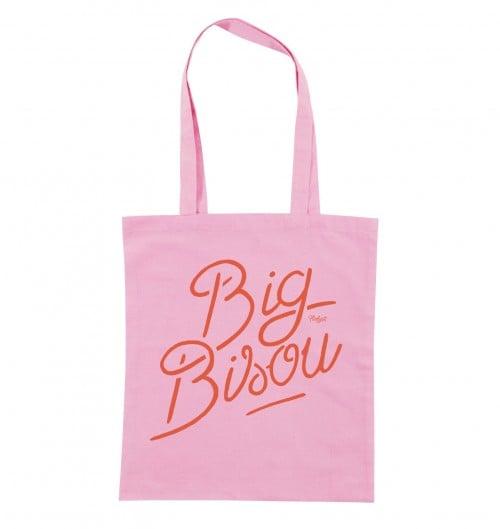 Totebag Big Bisou de couleur Rose