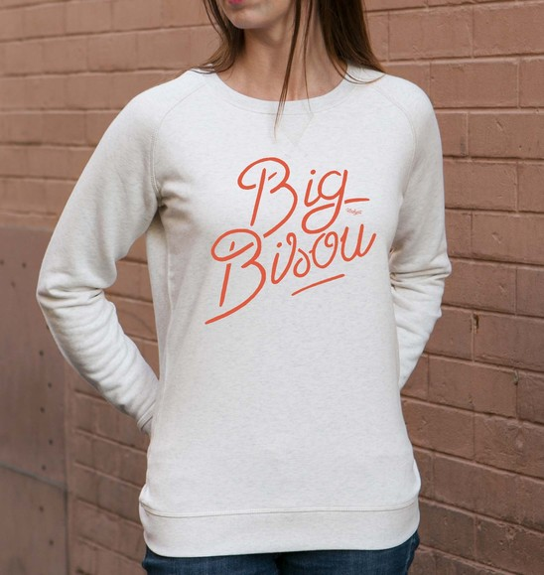 Sweat pour Femme Femme Big Bisou de couleur Beige chiné