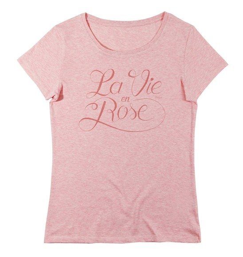 T-shirt pour Femme Femme La Vie en Rose de couleur Rose chiné