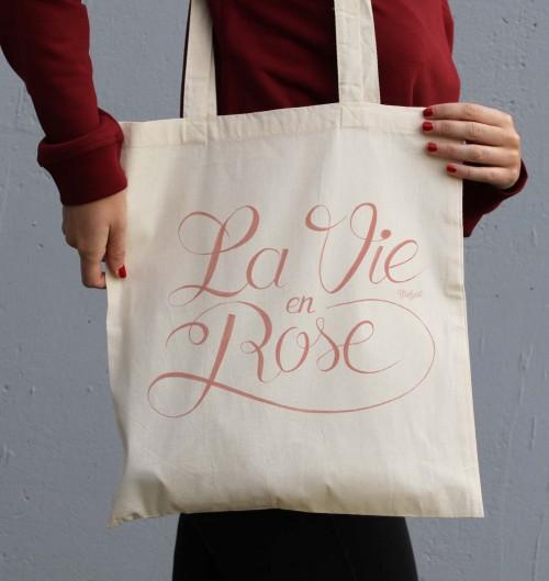 Tote Bag La Vie en Rose de couleur Crème