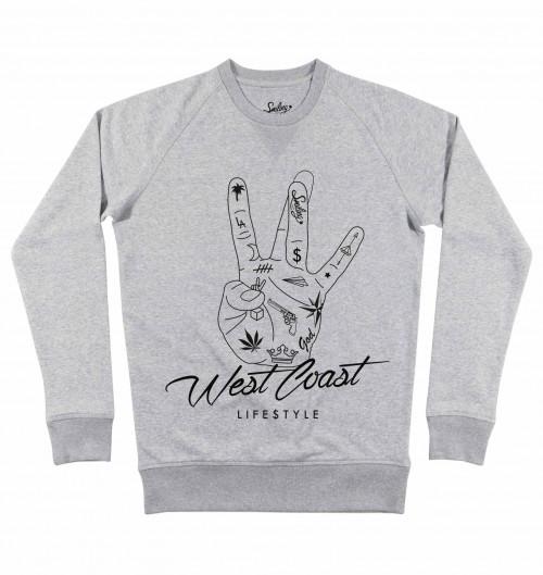 Sweat pour Homme West Coast de couleur Gris chiné