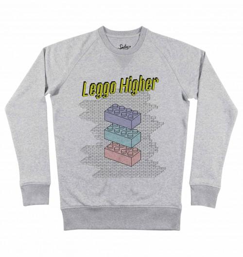 Sweat pour Homme Leggo Higher de couleur Gris chiné