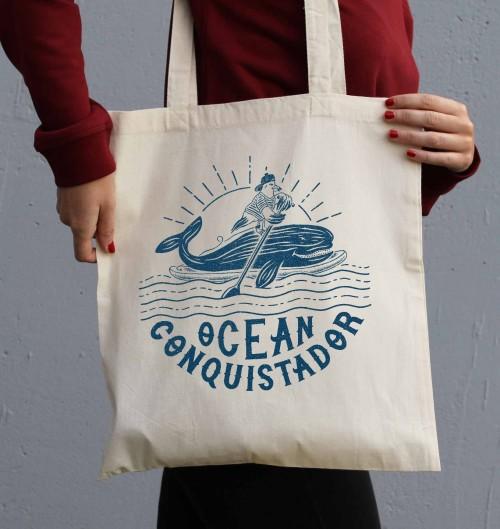 Tote Bag Ocean Conquistador de couleur Crème
