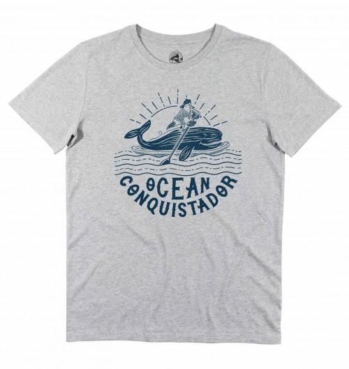 T-shirt pour Homme Ocean Conquistador de couleur Gris chiné