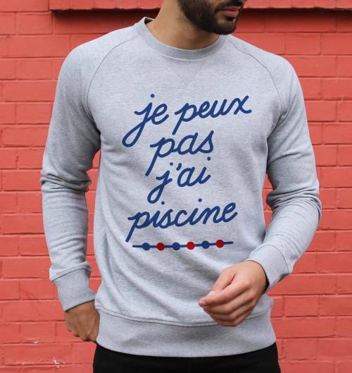 Sweatshirt pour Homme Je Peux Pas J'ai Piscine de couleur Gris chiné