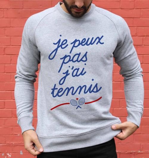 Sweat pour Homme Je Peux Pas J'ai Tennis de couleur Gris chiné