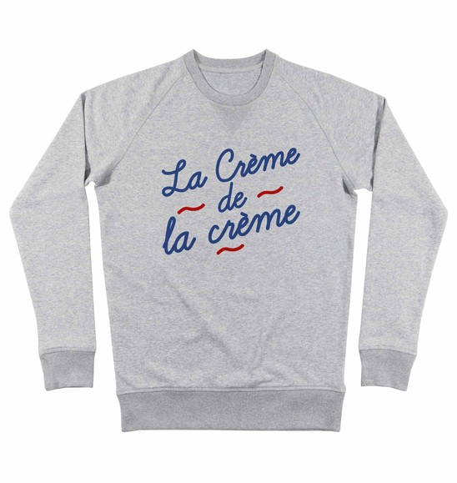 Sweatshirt pour Homme La Crème de la Crème de couleur Gris chiné