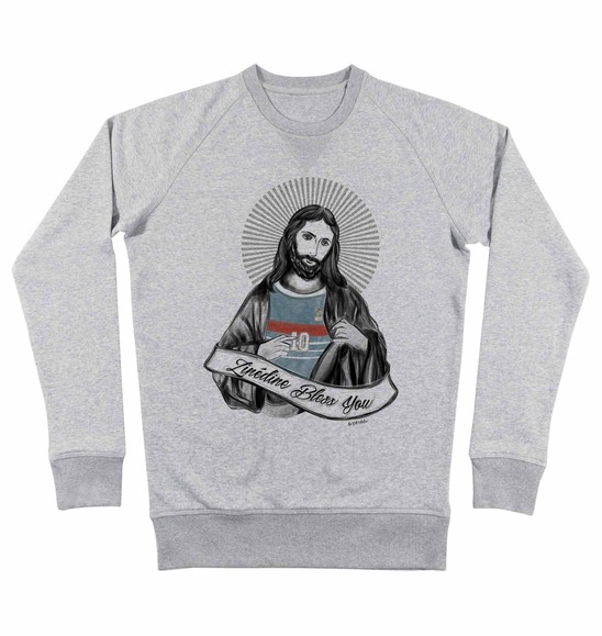 Sweat pour Homme Zizou Bless You de couleur Gris chiné