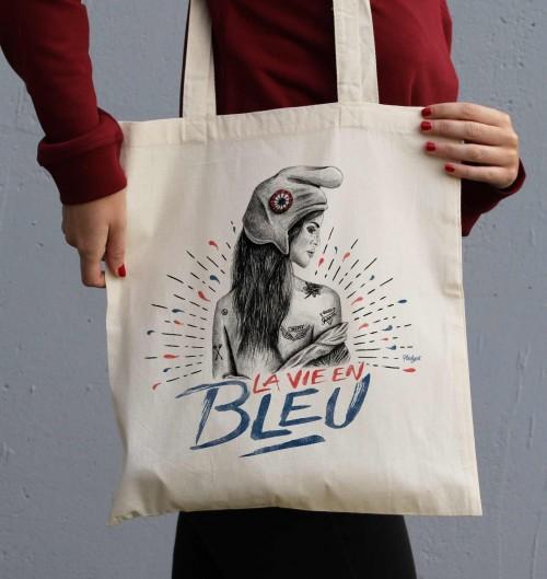 Tote Bag La Vie en Bleu de couleur Crème