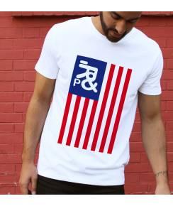 T-shirt à col rond Drapeau USA de la marque Prand