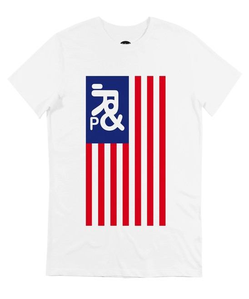 T-shirt pour Homme Drapeau USA de couleur Blanc