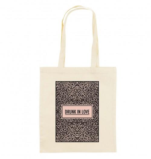 Tote Bag Drunk in Love de couleur Crème