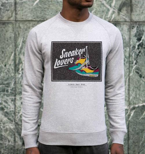 Sweatshirt pour Homme Sneaker Lovers de couleur Gris chiné