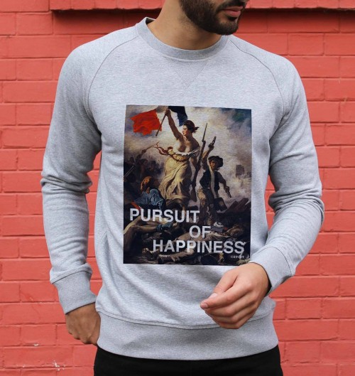 Sweat pour Homme Pursuit of Happiness de couleur Gris chiné