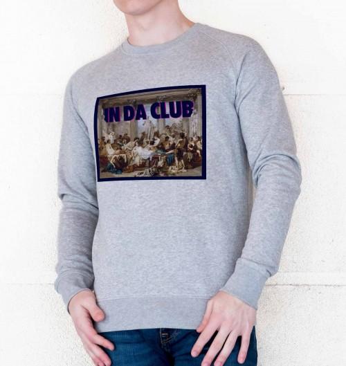 Sweat pour Homme In Da Club de couleur Gris chiné