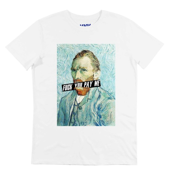 T-shirt pour Homme Van Gogh Fuck You Pay Me de couleur Blanc