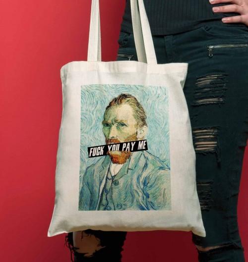 Tote Bag pour Femme Van Gogh Fuck You Pay Me de couleur Crème