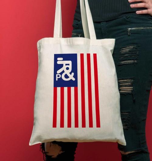 Tote Bag pour Femme Drapeau USA de couleur Crème