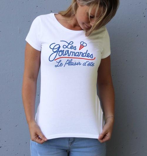 T-shirt pour Femme Femme Les Gourmandes de couleur Blanc