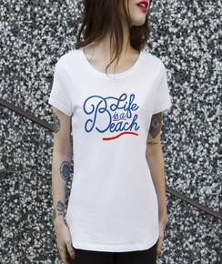T-shirt à col rond Femme Life is a Beach de la marque Les Bains
