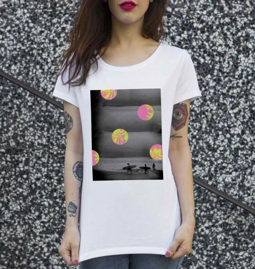 T-shirt pour Femme Femme Biarritz Beach de couleur Blanc