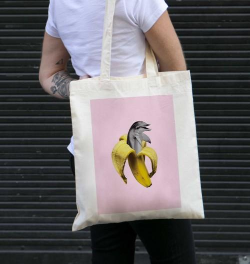 Tote Bag pour Femme Banana Dolphin de couleur Crème