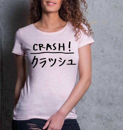 T-shirt pour Femme Femme Crash de couleur Rose chiné