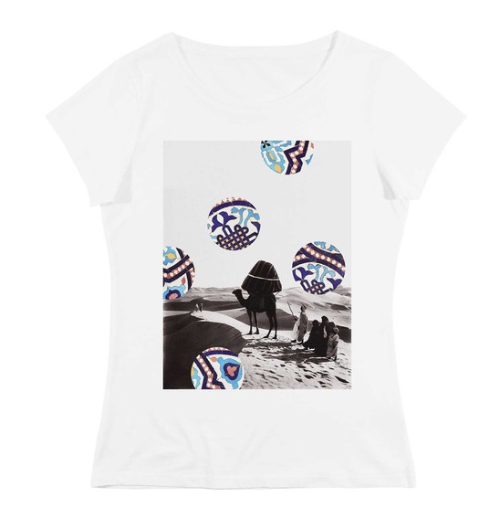 T-shirt pour Femme Femme Désert & Motifs de couleur Blanc