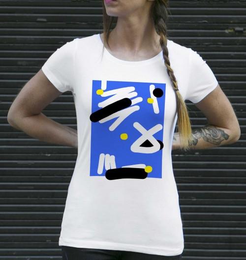 T-shirt pour Femme Femme Stratégie Abstraite de couleur Blanc