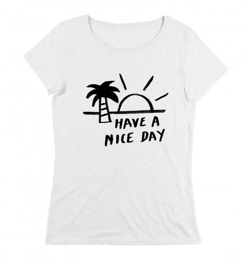 T-shirt pour Femme Femme Have a Nice Day de couleur Beige chiné