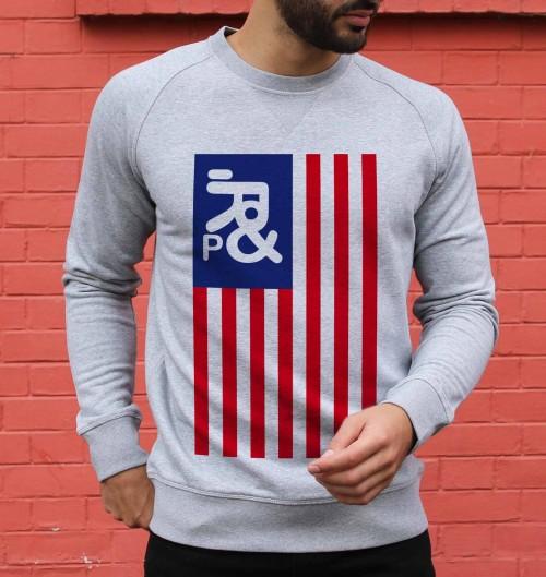 Sweat pour Homme Drapeau USA de couleur Gris chiné