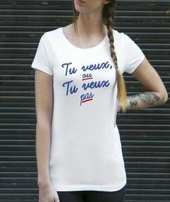 T-shirt à col rond Femme Tu Veux ou Tu Veux Pas de la marque Vague A L'Âme