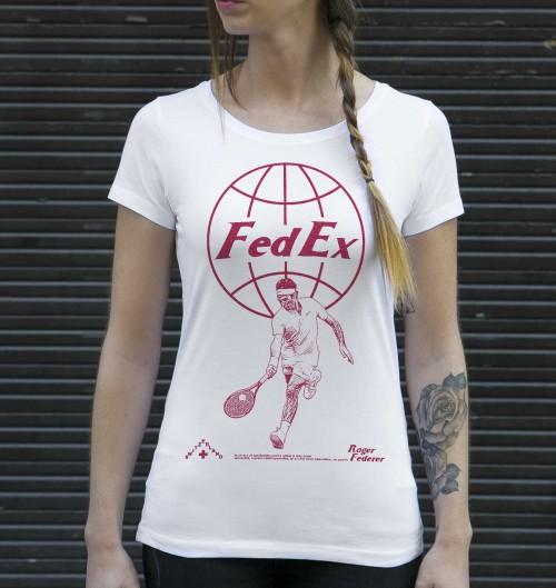 T-shirt pour Femme Femme Roger Federer de couleur Blanc