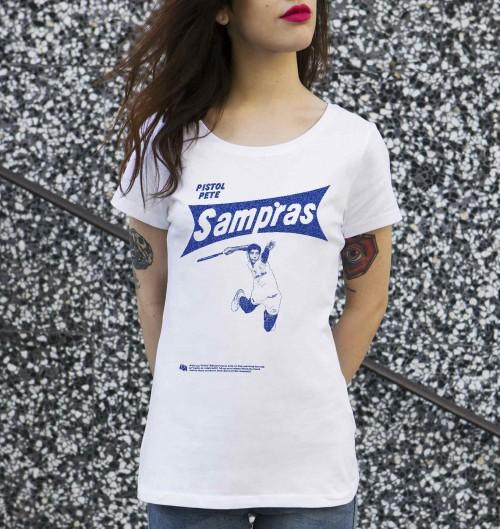 T-shirt pour Femme Femme Pete Sampras de couleur Blanc