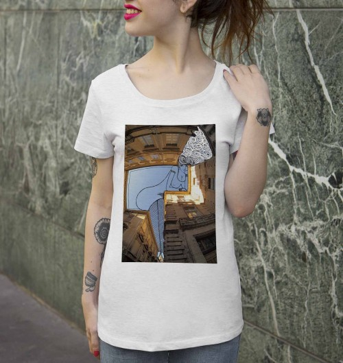 T-shirt pour Femme Femme Pin-Up D'Avignon de couleur Beige chiné