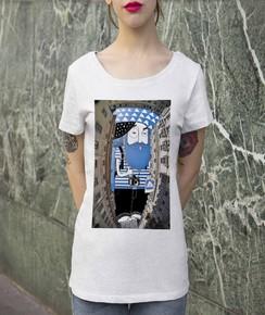 T-shirt à col rond Femme Ciel de Bruxelles par Thomas Lamadieu