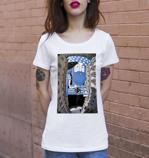 T-shirt pour Femme Femme Ciel de Bruxelles de couleur Blanc