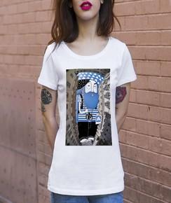 Détail T-shirt Femme Ciel de Bruxelles Numérique