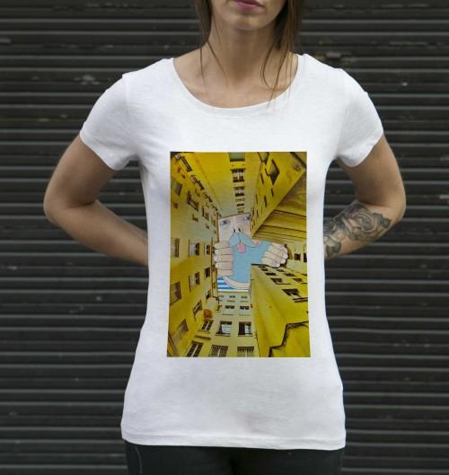 T-shirt pour Femme Femme Barbu Malicieux de couleur Beige chiné