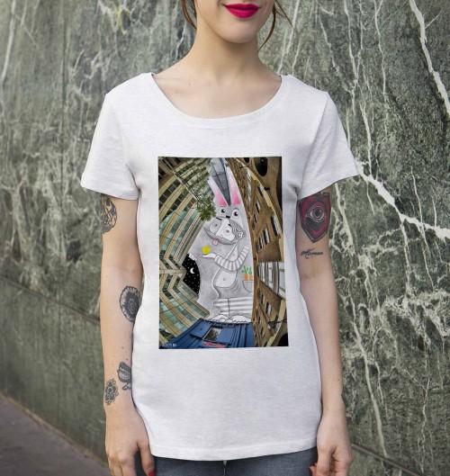 T-shirt pour Femme Femme Lapin de Londres de couleur Blanc
