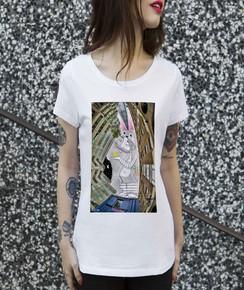 Détail T-shirt Femme Lapin de Londres Numérique